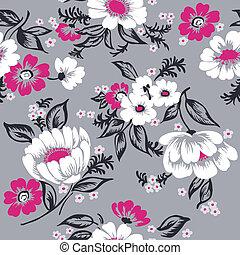 mooi, set, -, seamless, vector, ontwerp, achtergrond, floral, plakboek, jouw