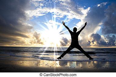 mooi, springt, vrolijke , strand, zonopkomst, man