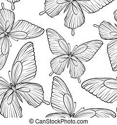mooi, strokes., lijnen, seamless, vlinder, black , colors., achtergrond, witte , omtrek, hand-drawn