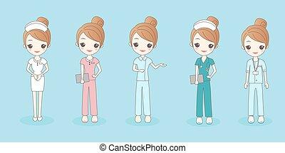 mooi, verpleegkundige, spotprent