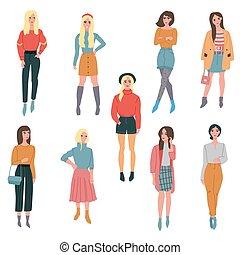mooi, vervelend, rok, geklede, polka, jonge, clothes., punten, buidel, laarzen, modieus, more., meisje, hoedje