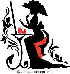 mooie vrouw, groot, elegant, spiegel, jurkje, hoedje