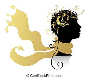 mooie vrouw, hoofd, silhouette