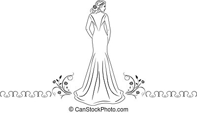 mooie vrouw, jurkje, lang