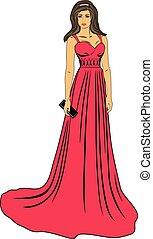 mooie vrouw, jurkje, rood, lang