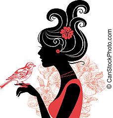 mooie vrouw, silhouette, vogel