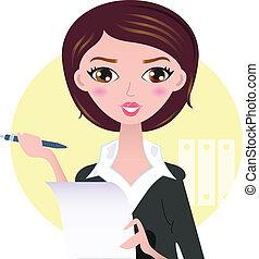 mooie vrouw, zakelijk, vrijstaand, gele, pen, achtergrond