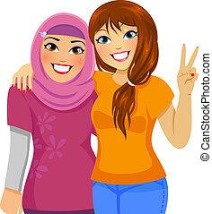 moslim, vrienden, kaukasisch