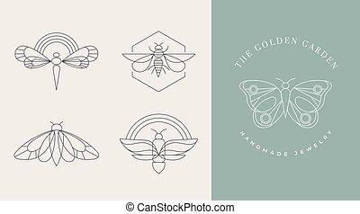 moth, voorbeelden, logos, abstract, symbolen, communie, geometrisch, iconen, decoration., lineair, boheems, libel, ontwerp, vlinder, insect