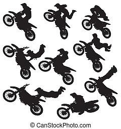 motocross, silhouette, freestyle