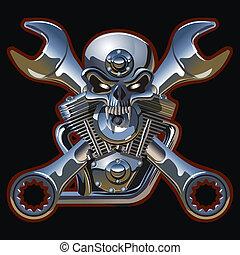 motor, metall, schedel