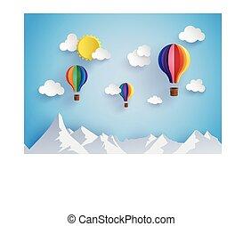moutain, kleurrijke, op, warme, flyin, balloon, lucht
