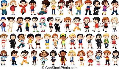 multicultureel, set, karakter