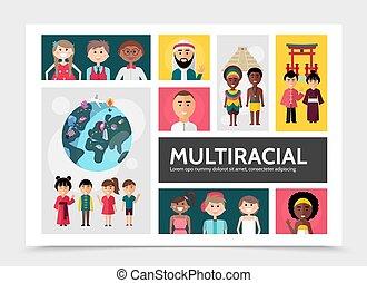 multiracial, plat, concept, mensen, infographic