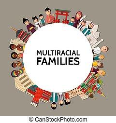 multiracial, plat, concept, ronde, mensen