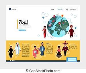 multiracial, plat, website, concept, mensen