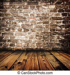 muur, houten, baksteen, grunge, vloer
