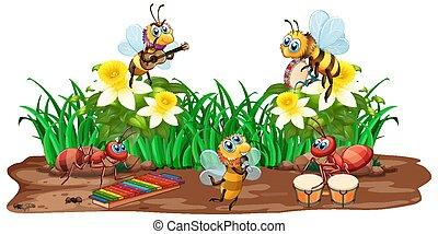 muziek, natuur, insect, spelend