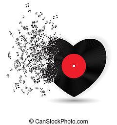 muziek, opmerkingen., vector, kaart, valentines, hart, dag, vrolijke , illustratie