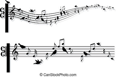 muzieknota's, vector, vogels