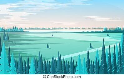 naald, voorgrond, moderne, style., landscape, hemel, achtergrond., bos, mal, landschap, plat, akker, illustratie, bomen, lijn, spandoek, natuurlijke , gekleurde, duidelijk, groot, vector, groene, horizon, of