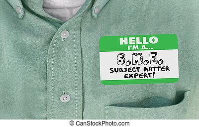 naam, deskundig, onderwerp, illustratie, van belang zijn, label, sme, 3d, hallo, hemd