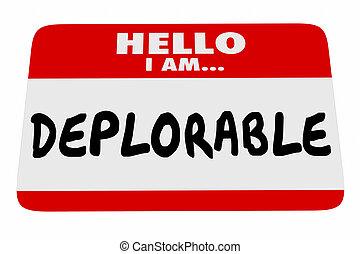naam, groet, illustratie, label, woorden, deplorable, hallo, 3d