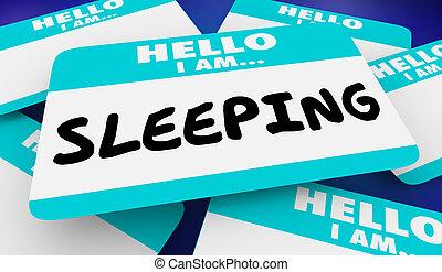 naam, illustratie, slapende, label, slapend, hallo, 3d