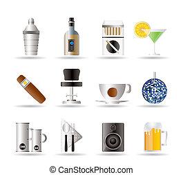 nacht, drank, bar, club, iconen