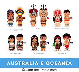 nationale, australië, oceania., clothes., mensen