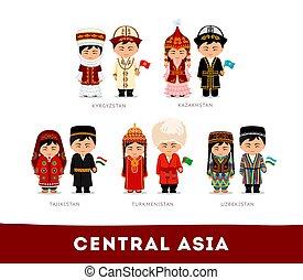 nationale, centrale aziaten, clothes., asia.
