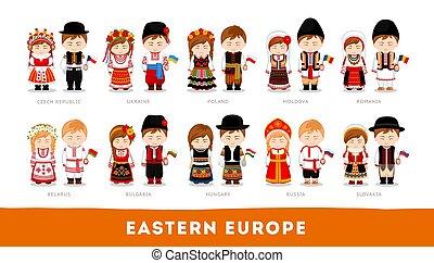 nationale, europe., europeanen, clothes., oostelijk