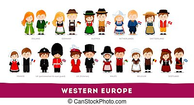 nationale, europe., westelijk, clothes., europeanen