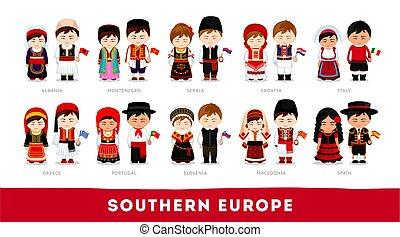nationale, europe., zuidelijk, clothes., europeanen