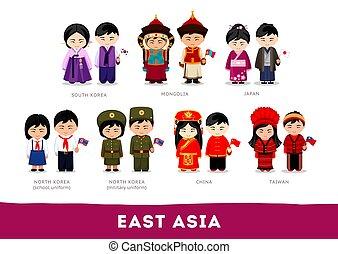 nationale, het oosten aziaten, clothes., asia.