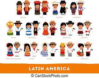 nationale, latijn, amerikanen, clothes.