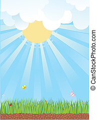 natuurlijke , landschap., achtergrond, zomer, vector, stripfiguren
