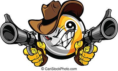 negen bal, cowboy, pool, spotprent, shootout, biljart
