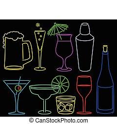 neon, bar, verzameling