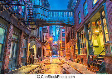 nieuw, alleyways, york, stad