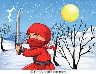 ninja, sneeuw, rood