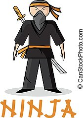 ninja, spotprent, illustratie, jonge