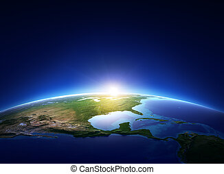 noorden, op, cloudless, aarde, amerika, zonopkomst