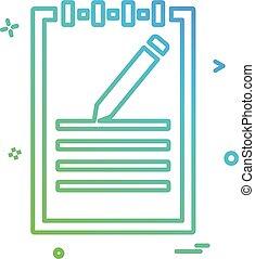 notepad, vector, ontwerp, pictogram