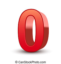 nul, glanzend, getal, rood, 3d