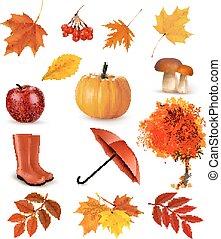 objects., vector, set, autumn-themed