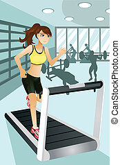 oefening, vrouw, gym