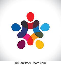 of, gemeenschap, kleurrijke, spelend, ook, cirkels, vasthouden, friendship-, werkmannen , solidariteit, vector, &, handen, graphic., groenteblik, unie, eenheid, geitjes, dit, illustratie, samen, weergeven, concept, enz.
