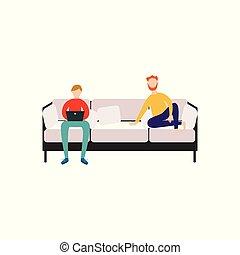 of, plat, mannen, bankstel, woongroep, vector, illustratie, isolated., zittende , vrienden