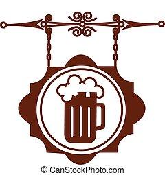 of, woning, straat, illustratie, signboard, oud, bier, vector, -1, bar